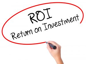 Women Hand Writing Roi  Return On Investment With Black Marker O